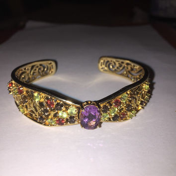 ON SALE 14K Emerald Ruby Sapphire Cuff Bracelet Gold Sterling Silver 925 Amethyst Vintage Jewelry Christmas Holiday Birthday Anniversary Gif