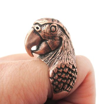 Realistic Parrot Bird Shaped Animal Wrap Around Ring in Copper | Sizes 6 to 10 Available
