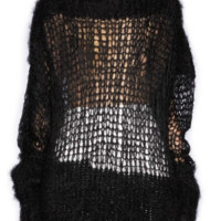 Mesh Cut-out  Loose Mink Sweater