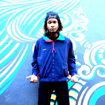 Vintage Fleece Lined Windbreaker Jacket, 90s COLUMBIA Brand Navy Blue Teal Red Outdoor Ski Zip Up Bomber Jacket, 90's Hip Hop Party, Mens XL
