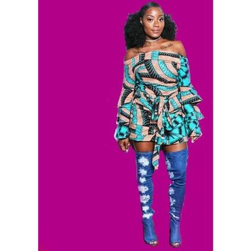 Black Iris African Ankara Print Off Shoulder Romper