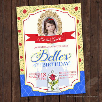 Princess Belle Birthday Party Invitations