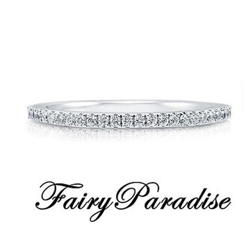 Pave Half Eternity Wedding Band, Stacking Layering, 925 silver round cut man made diamonds stackable anniversary ring ( FairyParadise )