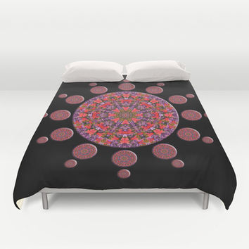 Red and Purple Tulip Mandala Fractal Duvet Cover by Hippy Gift Shop