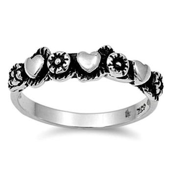 .925 Sterling Silver Flower and Heart Wide Band Ring Ladies Size 4-10 Midi