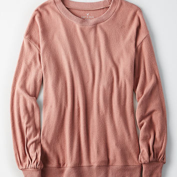 AE Soft & Sexy Plush Puff-Sleeve Sweatshirt, Mauve