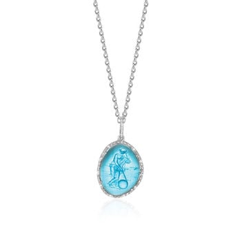 Sterling Silver Diamond Embellished Blue Venetian Glass Cameo Pendant