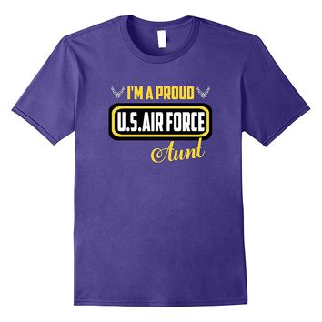 Cool Military Proud US Air Force Aunt Round Gift T-shirts