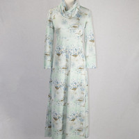 Vintage 70s Maxi Dress Cowl Neck Novelty Bird Print Ibis Sparrows