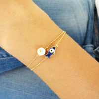 Mother daughter matching evil eye bracelets - mom mommy bracelet with ball chain gold plated mother birthday gift arabic turkish