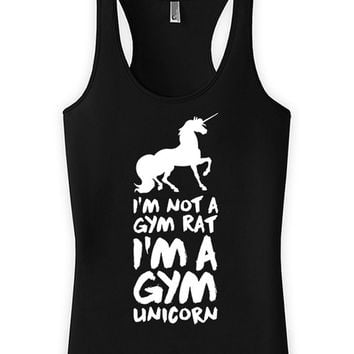 Funny Workout Tank I'm Not A Gym Rat I'm A Gym Unicorn American Apparel Racerback Unicorn Tank Top Unicorn Lover Womens Tanks Joke WT-94