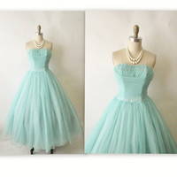 50's Prom Dress // Vintage 1950's Strapless Robins Egg Blue Chiffon Prom Wedding Party Dress XS