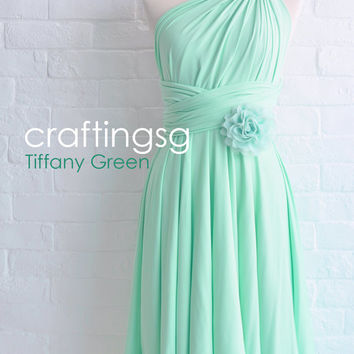 Bridesmaid Dress Infinity Dress Tiffany Green Knee Length Wrap Convertible Dress Wedding Dress