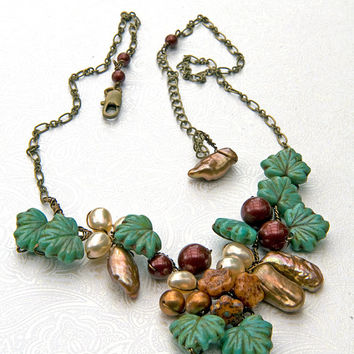 Green brown Bead Necklace, Floral Jewelry, Nature Jewelry, Winter Fashion