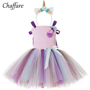 Dress For Girl Little Pony Unicorn Party Girl Clothes Rainbow Christmas Halloween Costume Children Dress+Headband 2Pc/Set