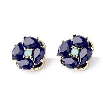Charming Blue Rhinestone Stud Earrings 33