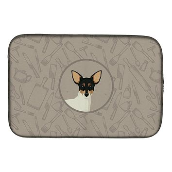 Toy Fox Terrier In the Kitchen Dish Drying Mat CK2214DDM