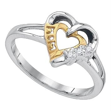 Sterling Silver Women's Round Diamond Mom Mother 2-tone Heart Ring .03 Cttw - FREE Shipping (US/CAN)