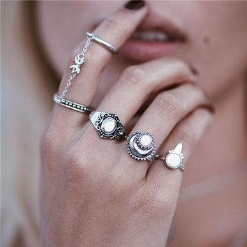 Boho national style jewelry retro bohemian Siamese chain Mittens 4pcs / set ring sun moon ring for women