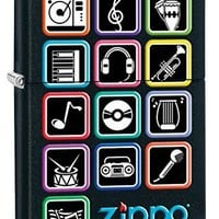 Zippo Custom Lighter: Music Icons - Black Matte 78786