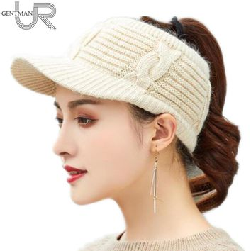 New Women Winter Hat Empty Top Ponytail Beanie Female Rabbit Fur Knitted Hat Fashion Winter Hats For Women Top Quality Girl Caps