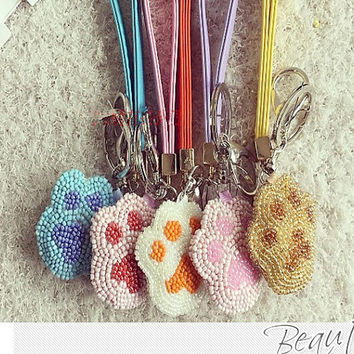 Cute Dog's Paw keychain,Hand Beaded Car keys Ring Car Accessories