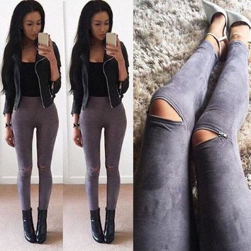 PEAPON Winter Autumn Women Faux Suede Skinny Pants Sexy Zipped Legging Stretch Slim Ankle Trousers S M L XL