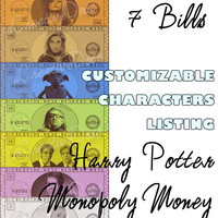 customizable order harry potter monopoly money instant digital download money only