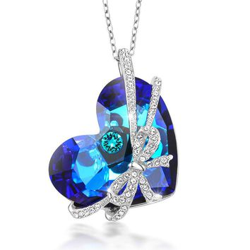 Bermuda Blue Encased Ribbon Heart Pendant Created with Swarovski® Crystals