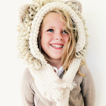 Lion Hat Hood Cowl Scarf Knit Toddler Child Adult // Leroy the Lion Hood