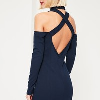 Missguided - Navy Cut Out High Neck Long Sleeve Mini Dress