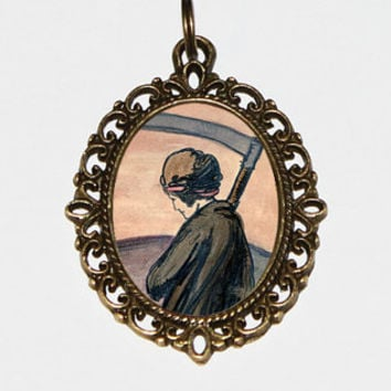 Time Necklace, Scythe, Reaper, Pamela Colman Smith, Art Jewelry, Occult, Death, Bronze Oval Pendant