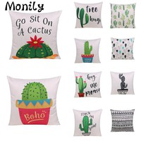 Moniy African Tropical Cactus Plants Cushion Covers Cactus Pillow Cover Office Chair Seater Cover Decorative Throw Pillow Cover