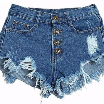 Women's Button Up Distressed Shorts