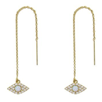 Pave CZ + Opal Evil Eye Threader Earrings