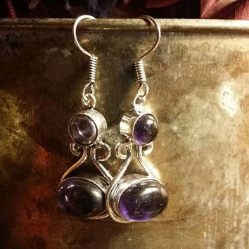 SUMMER SALE 70% Off Amethyst  Earrings Gemstone  .925 Sterling  Silver