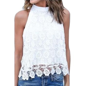 LMF9GW Fashion New Blusas 2016 Sexy Women Sleeveless Blouse Lace Floral Crochet Tops Patchwork Backless Big Bowknot White Shirts