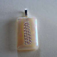 Cream Colored Fused Glass Pendant with Iridescent Dichroic Cap and Asymmetrical Textured Dichroic Stripe, Necklace Slider