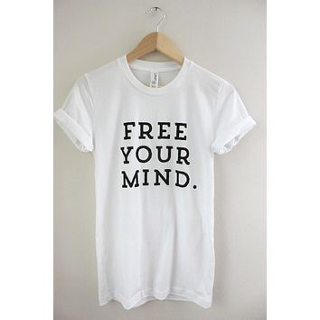 Free Your Mind White Graphic Unisex Tee
