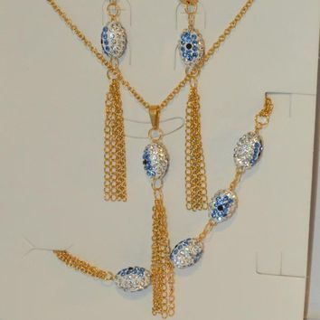 "MSET-SS-624-E4 Stainless Gold Plated Evil Eye Necklace and Earrings Set. 18"" necklace. Two colors available."