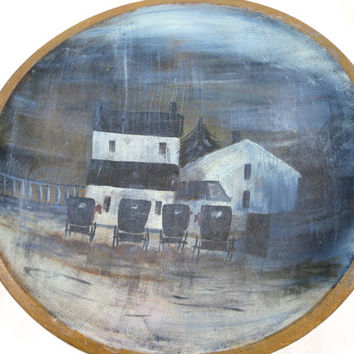 Antique Wood Butter Bowl Hand Painted Amish Buggy Painting Black White Farm House Buggies Signed Primitive Rustic Folk Art Picture Bowl