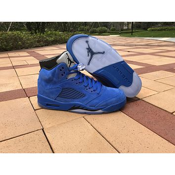 2017 Air Jordan Retro 5 5s Blue Suede Raging Bulls Anger Men Basketball Shoes With Silver Gray 3m Reflective Tongue 136027 401 | Best Deal Online