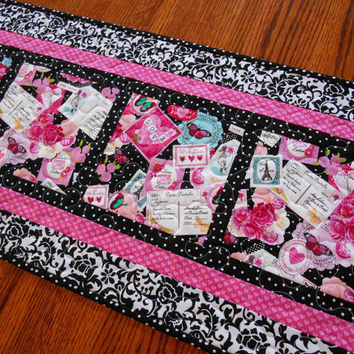 Valentine's Day Table Runner, Quilted Valentine Runner, Pink Red Black and White, Paris Theme