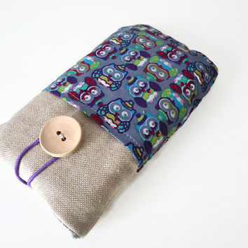 Iphone 6 sleeve / HTC One sleeve case / iphone case / LG G4 cover / Sony Xperia sleeve / Samsung Galaxy cover - Linen owls pockets