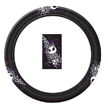 Nightmare Before Christmas Jack Skellington Purple Bats and Cross Bones Tim Burton Disney Vehicle Car Truck SUV Auto Universal Fit Steering Wheel Cover
