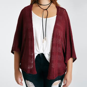 Plus Size Slouchy Diamond-Patterned Cardi | Wet Seal Plus