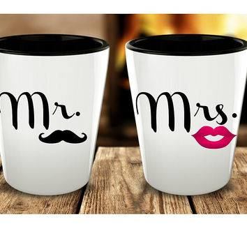 Mr. and Mrs. Shot Glass Set of 2 - Ceramic Cocktail Jigger Cup