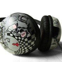 Alice in Wonderland Hand Painted Headphones in black by ketchupize