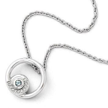 Blue Topaz & .05 Ctw Diamond Circle Sterling Silver Necklace, 18-20 In