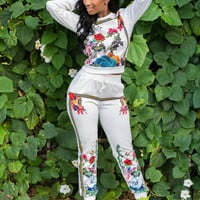 White Floral Print Sweatshirt and Pants